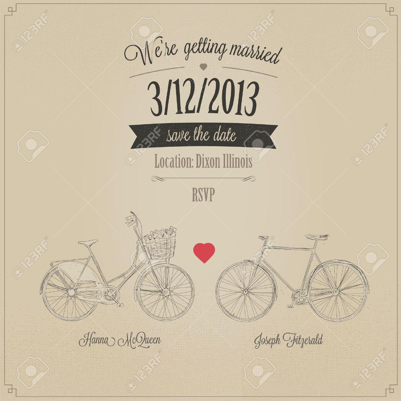 Grunge retro wedding invitation with tandem vintage bicycles Stock Vector - 17470886