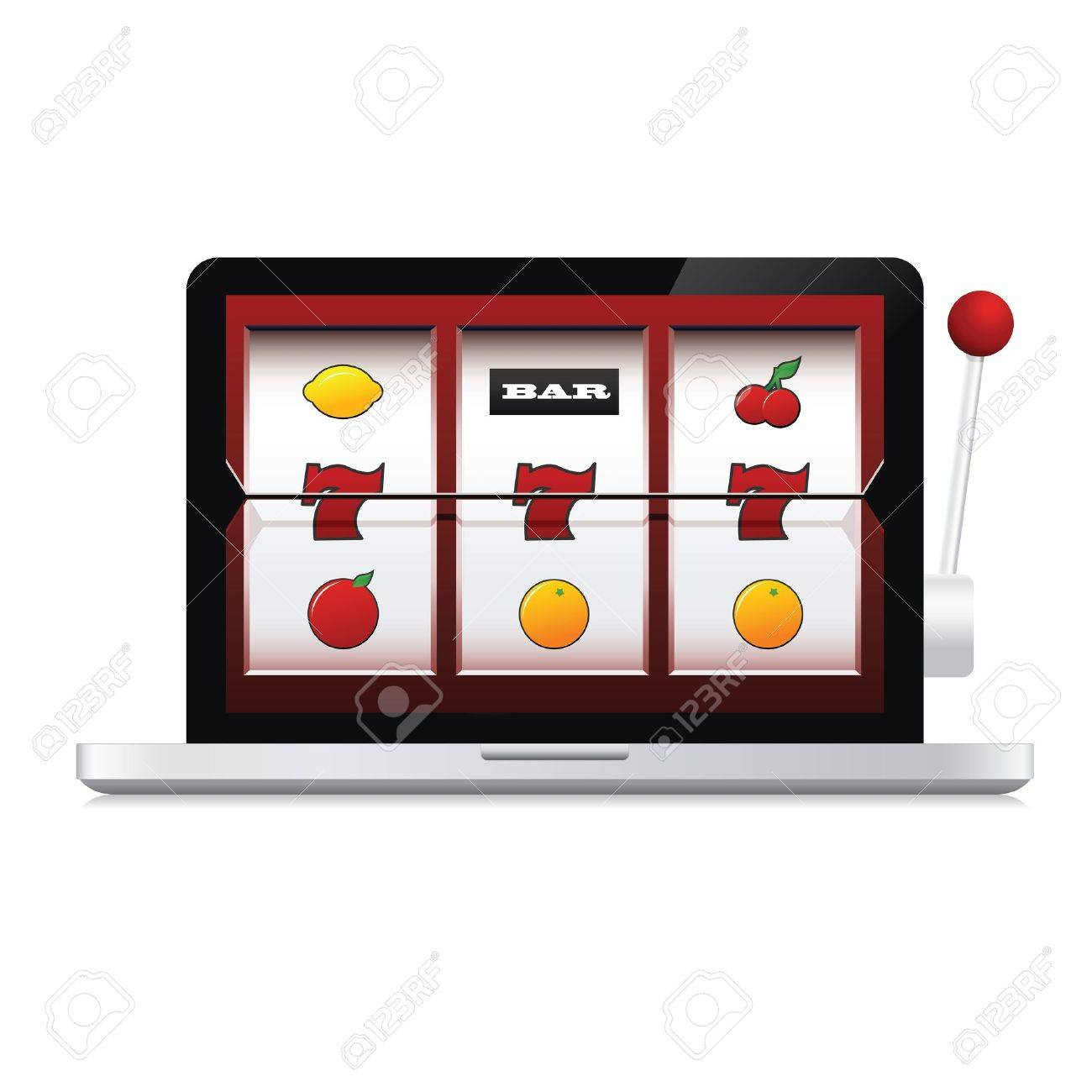 Abstract image of laptop online casino slot machine Stock Vector - 17470881