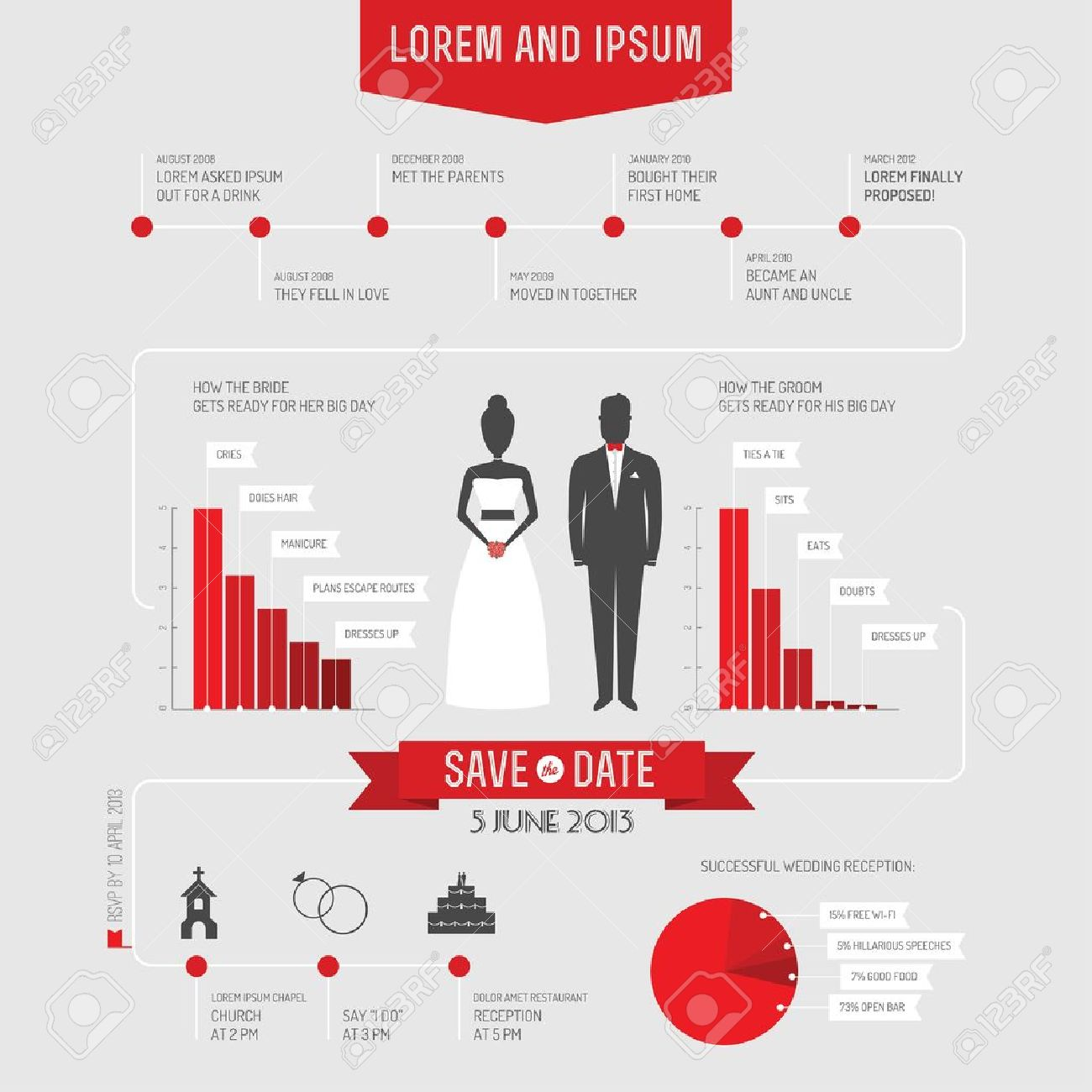 Funny Infographics Style Wedding Invitation Royalty Free Cliparts ...