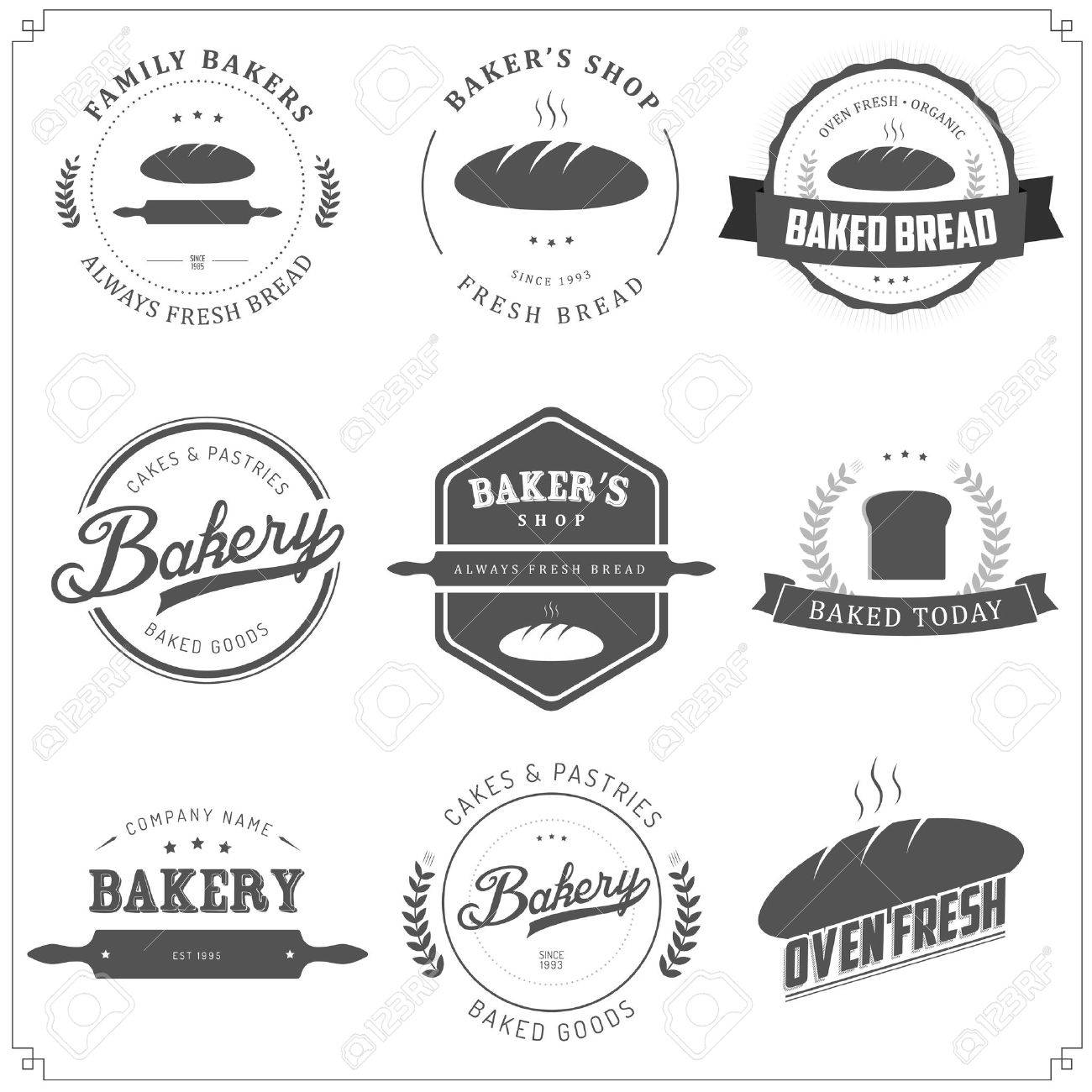 Set of vintage bakery labels and design elements Stock Vector - 18090912