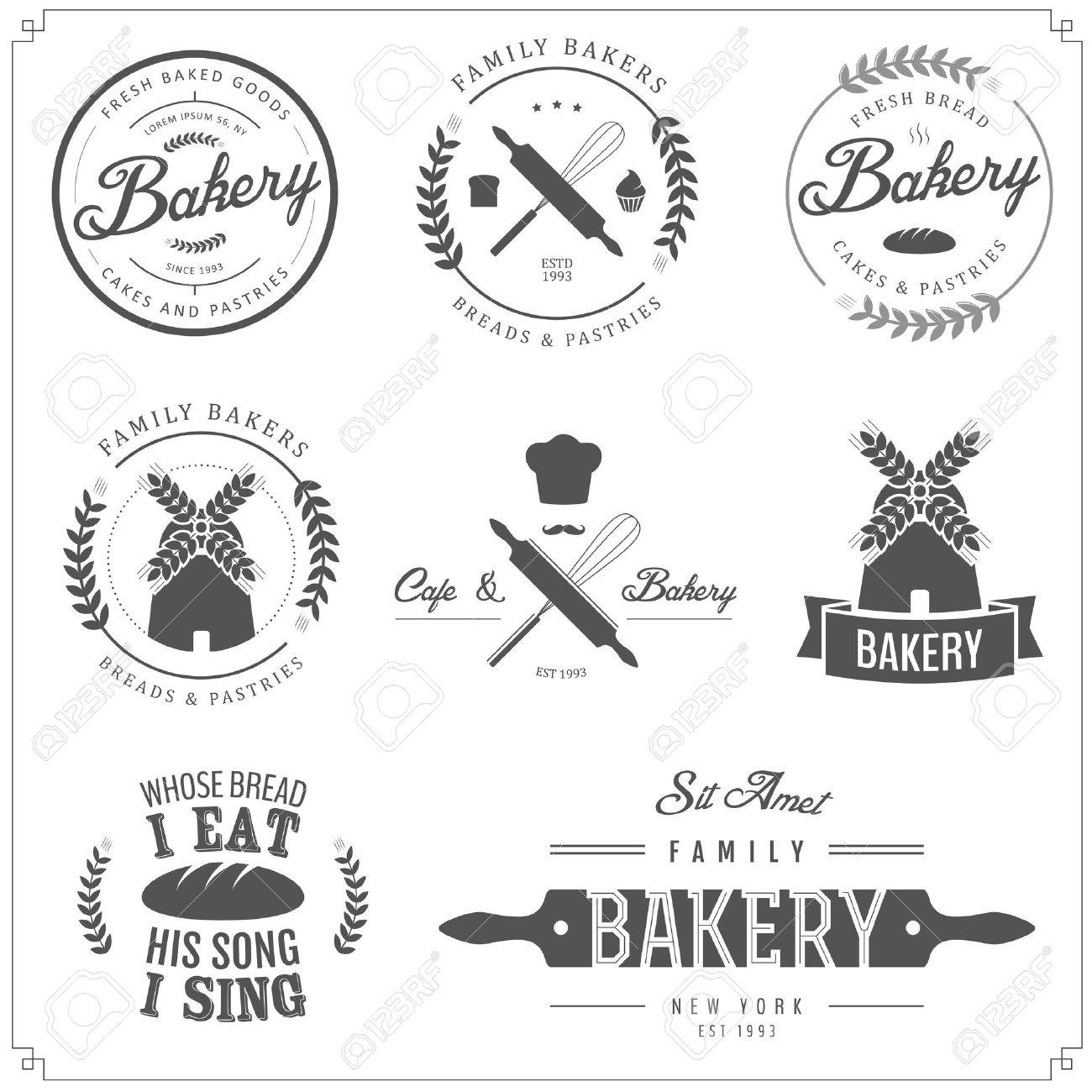 Set of bakery labels, badges and design elements - 18390365