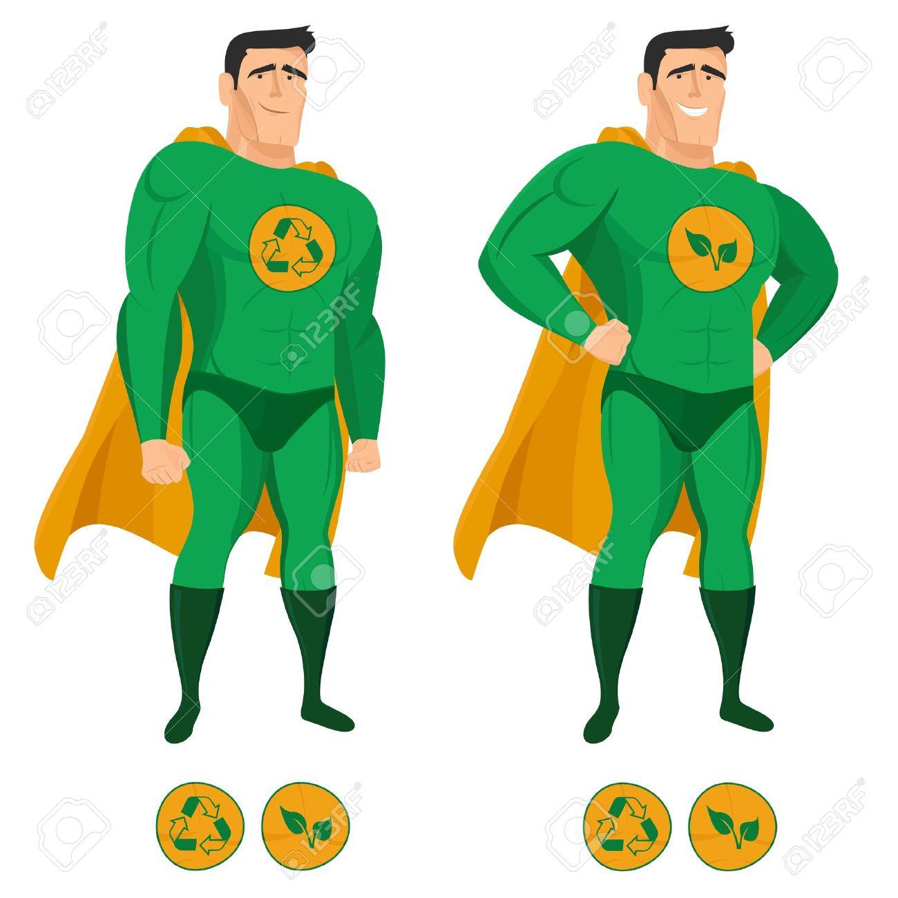 revendeur comment chercher couleurs harmonieuses Recycler super-héros en uniforme vert avec une cape
