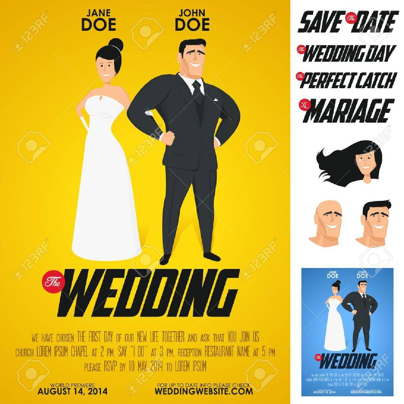 funny glossy movie poster wedding invitation royalty free cliparts