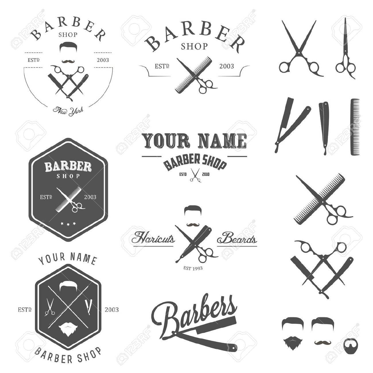 Clip art vector of vintage barber shop logo graphics and icon vector - Vector Similar Images Add To Likebox Barber Set Of Vintage Barber Shop Labels Badges And Design Elements