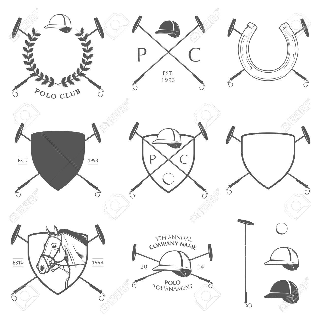 Set of vintage horse polo labels, badges and design elements Stock Vector - 21217465