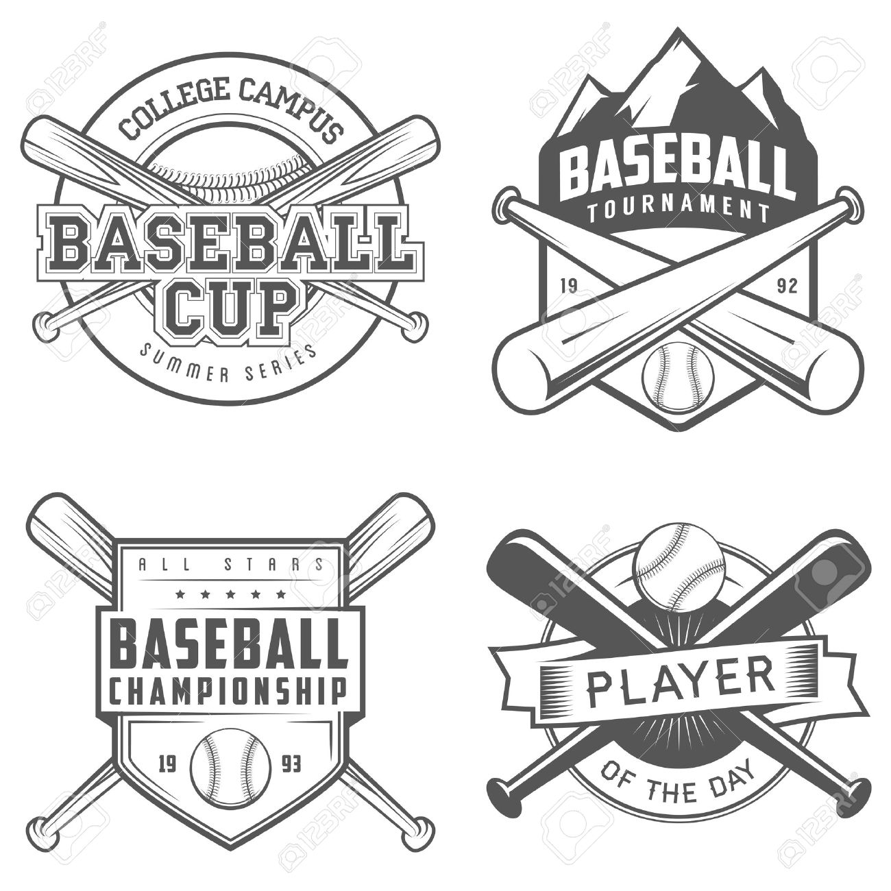 Set Of Vintage Baseball Labels And Badges Stock Vector