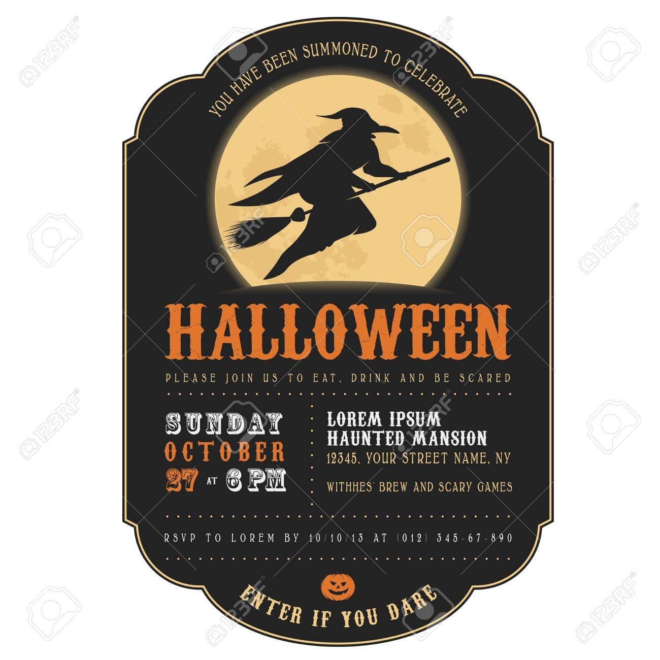 Vintage Halloween Invitation With Witch Flying On A Broom Royalty
