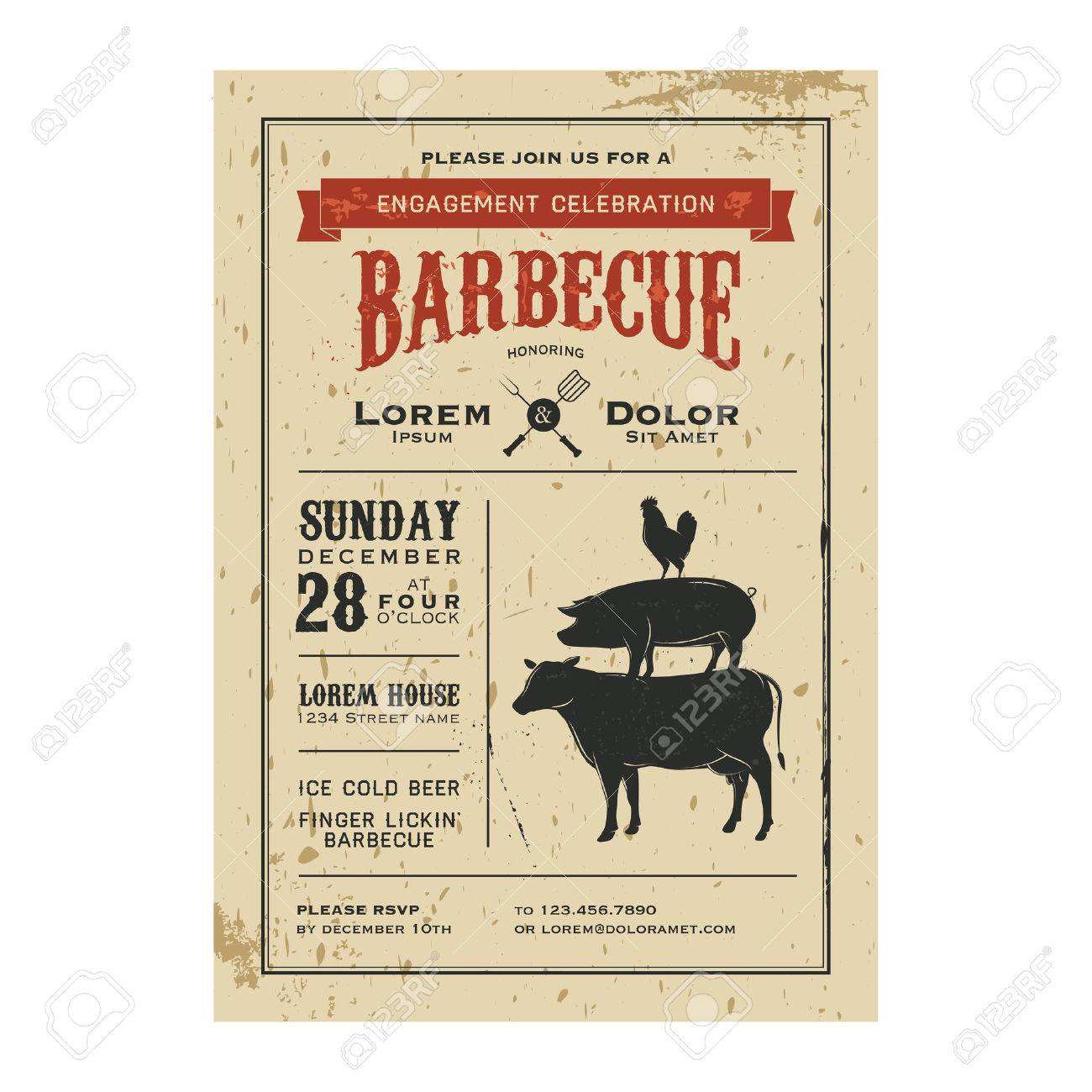 Vintage barbecue invitation card on old grunge paper royalty free imagens vintage barbecue invitation card on old grunge paper stopboris Choice Image