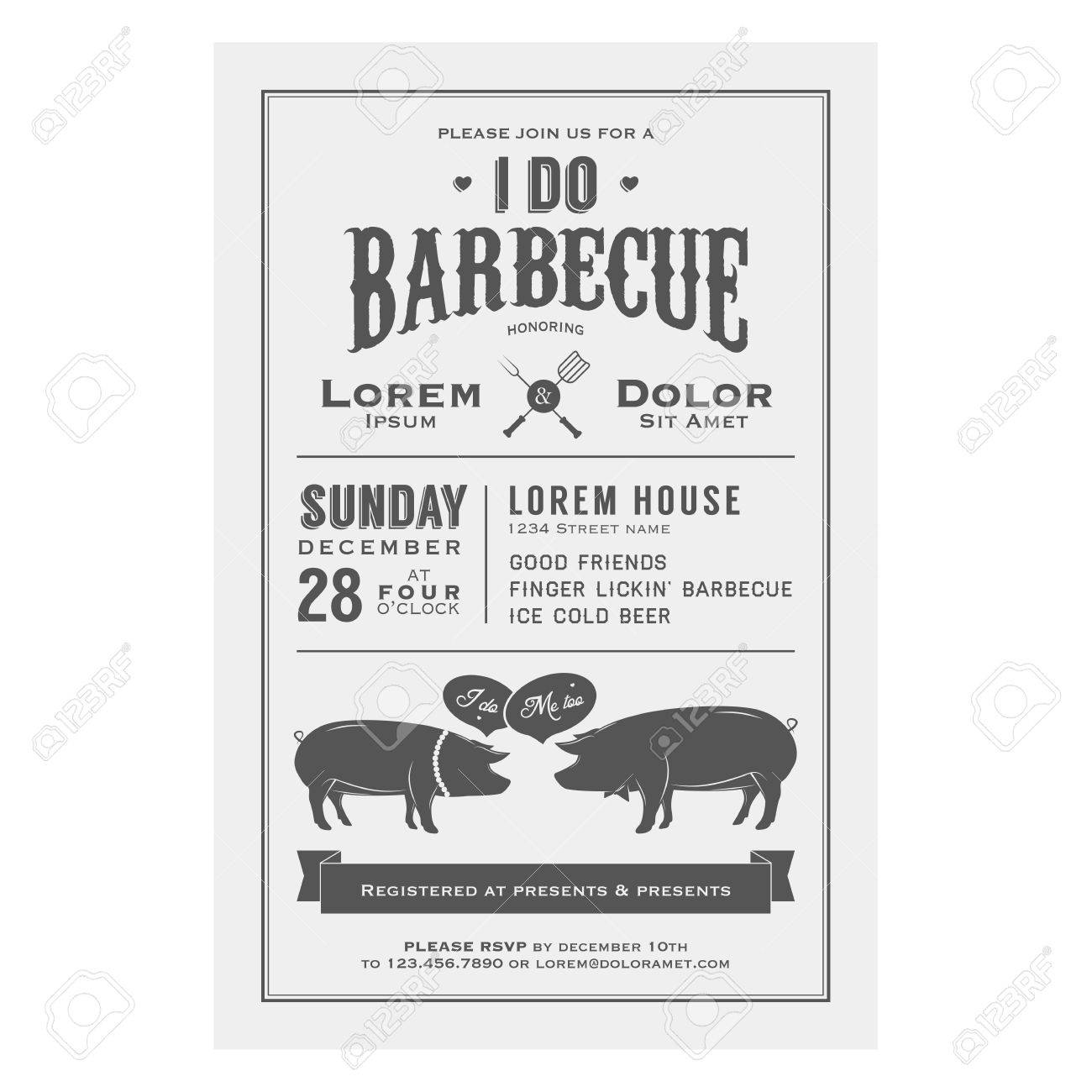 Vintage I Do Barbecue Wedding Invitation Card Royalty Free Cliparts ...