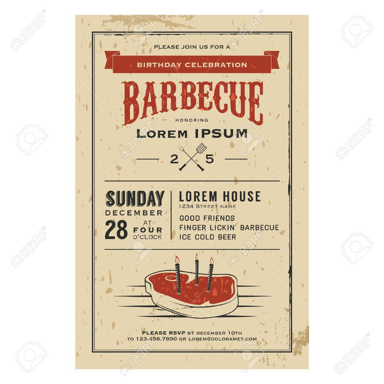 Vintage Birthday Party Barbecue Invitation Royalty Free Cliparts ...