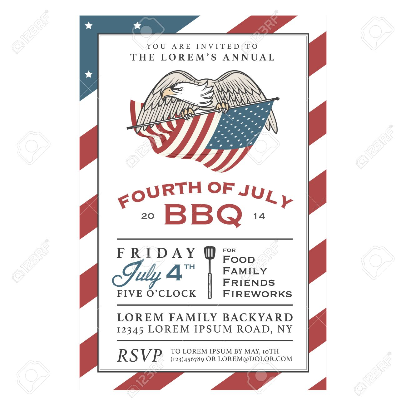 Vintage 4th of July Independence Day barbecue invitation Stock Vector - 26602699