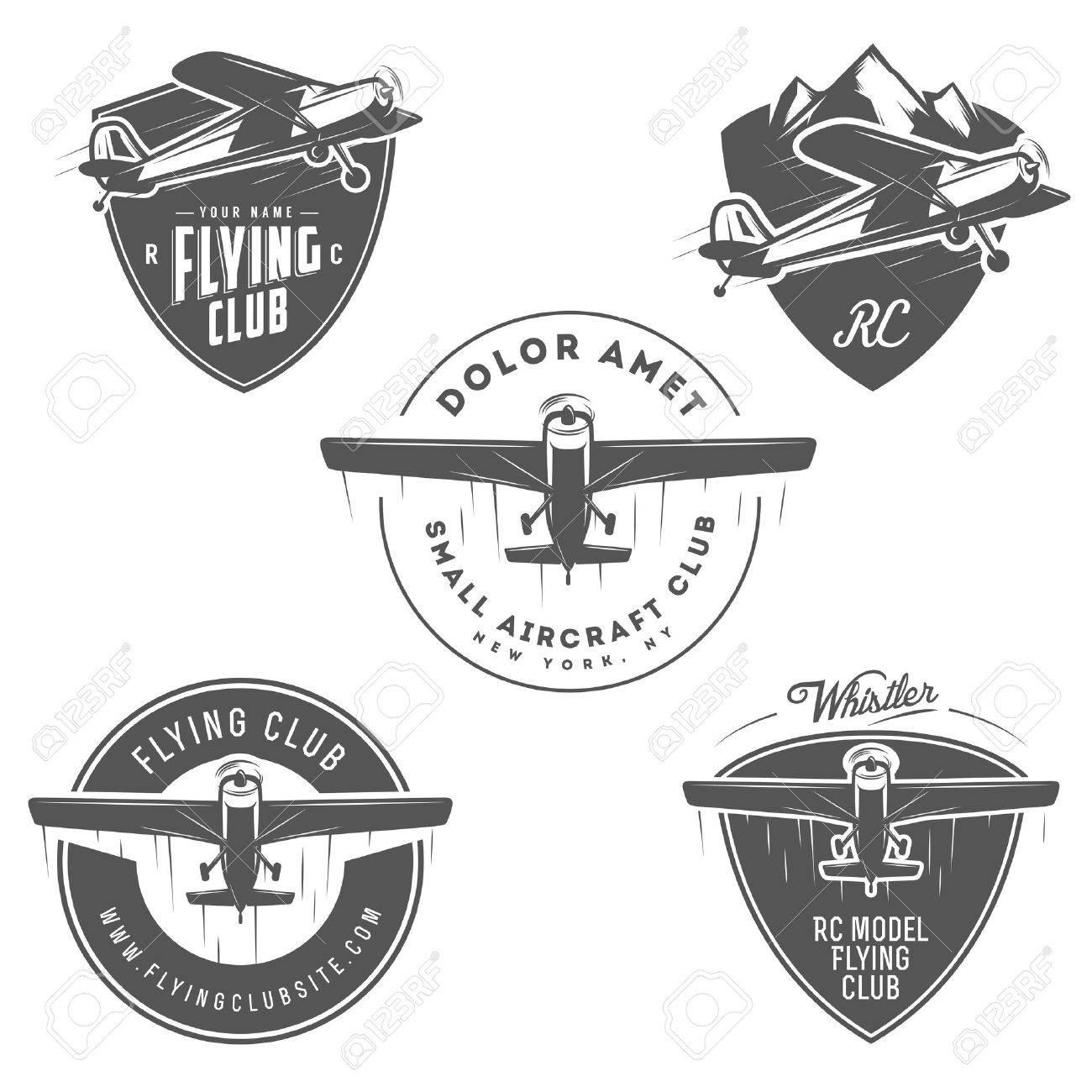Avion Liés Emblèmes Légers Et Rc Des étiquettes Et Des éléments De Conception