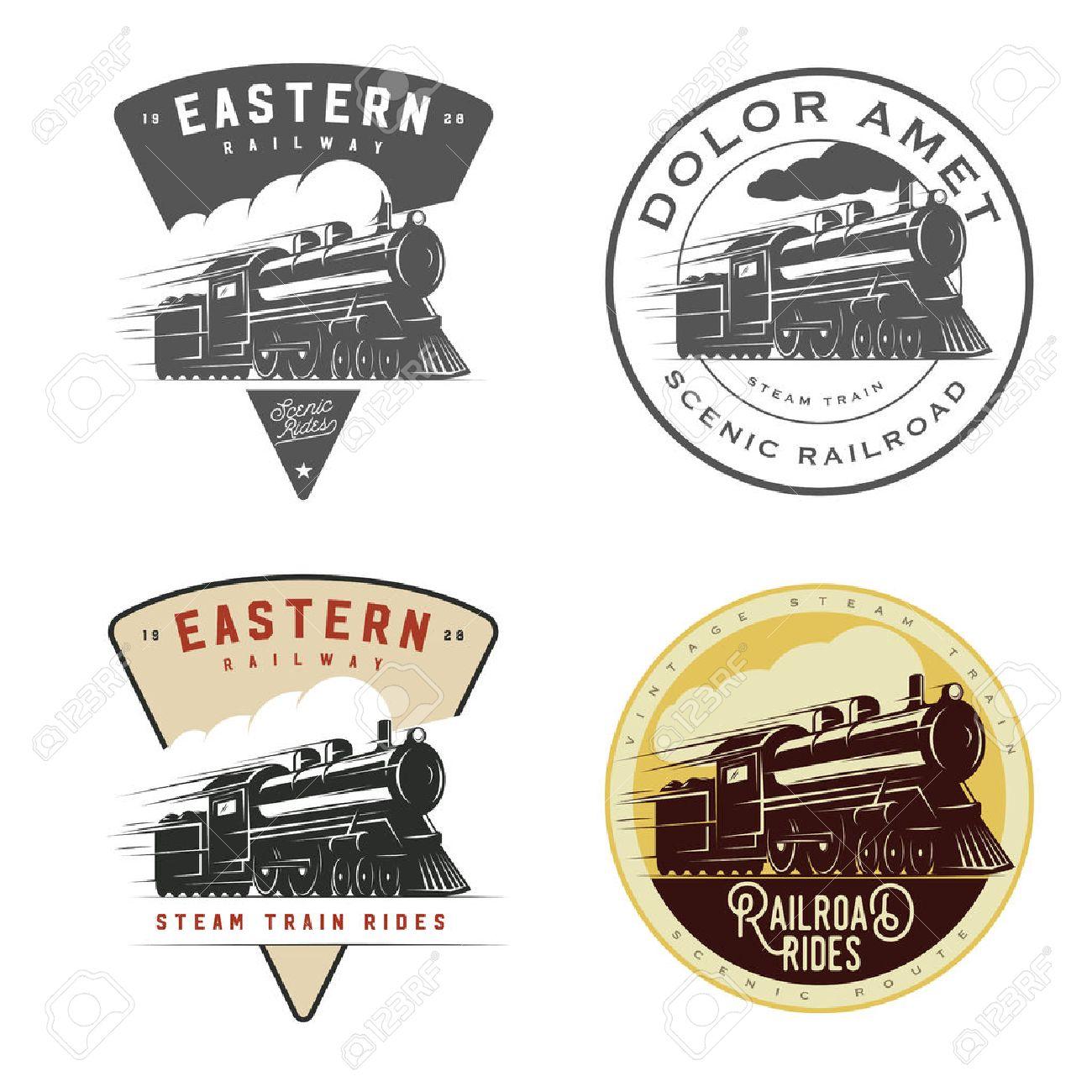 Set Of Vintage Retro Railroad Steam Train Logos Emblems Labels