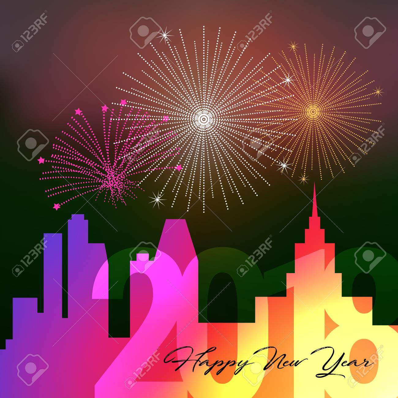 happy new year 2018 night big city background with salute firework vector illustration