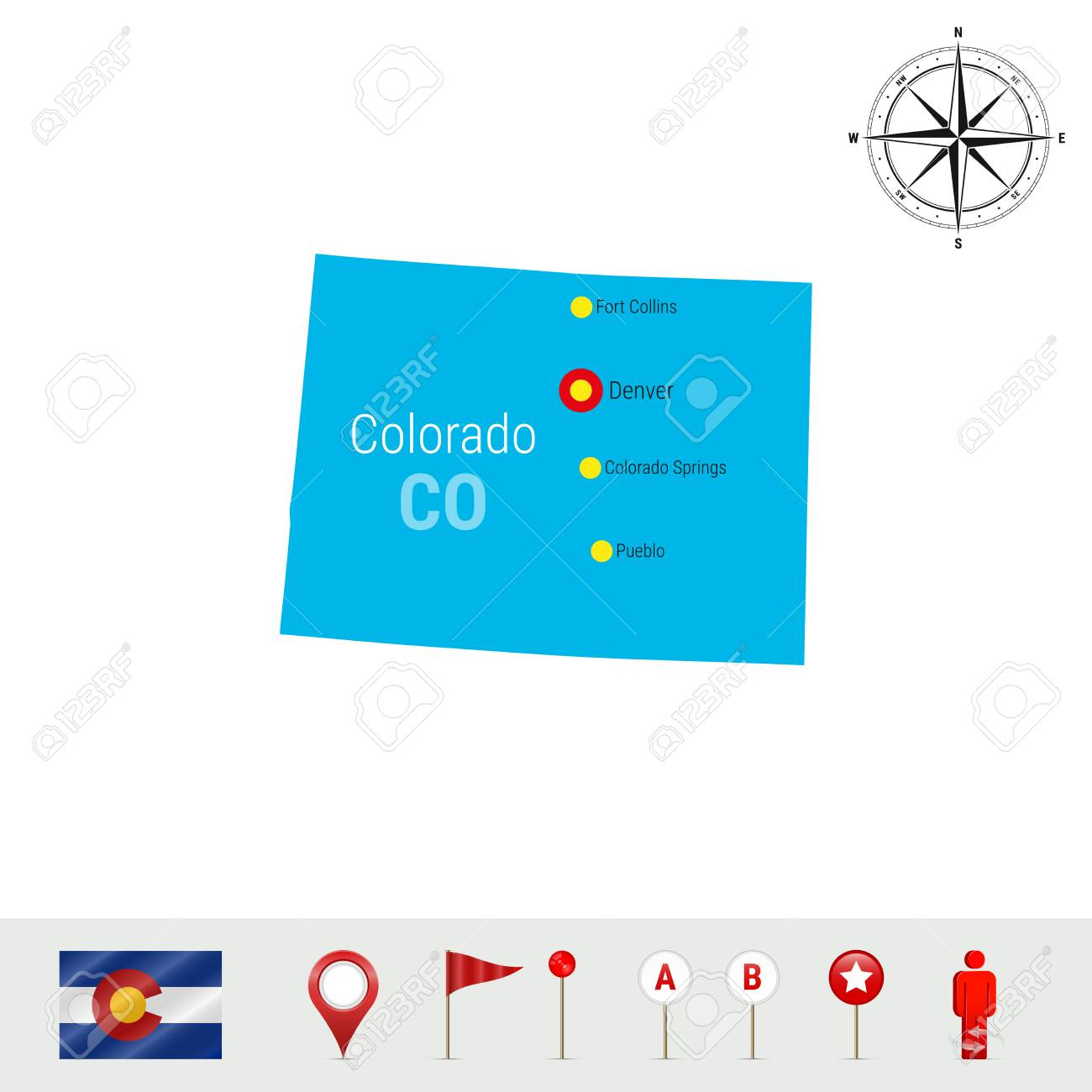 Colorado Vector Map Isolated On White Background Silhouette
