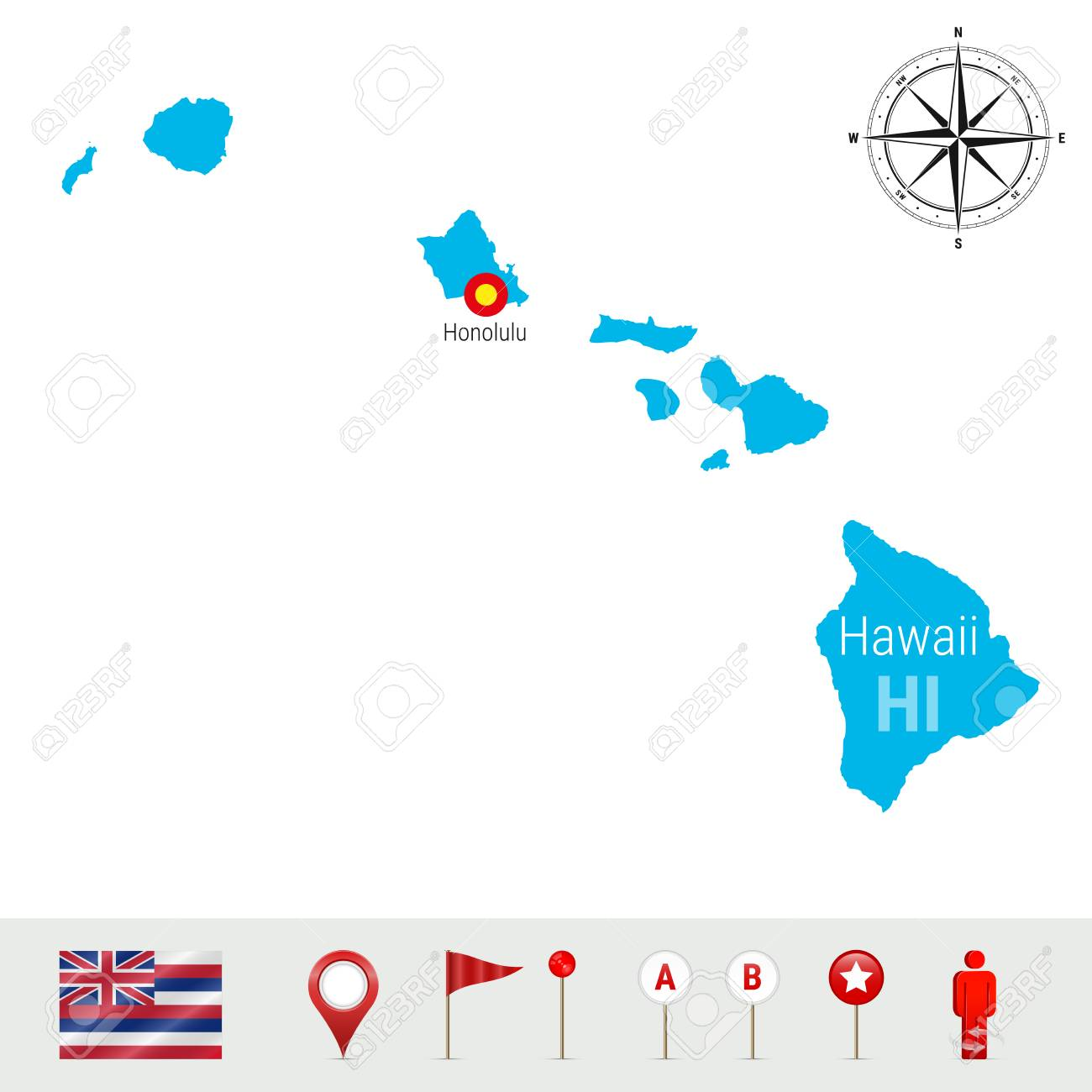 Hawaii Vector Map Isolated On White Background High Detailed