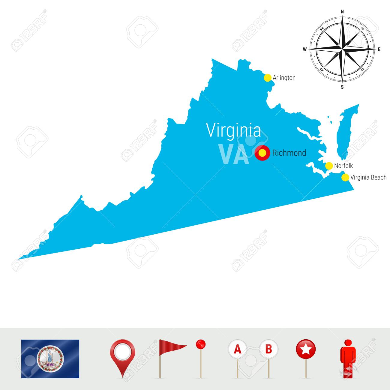 Virginia Vector Map Isolated On White Background. High Detailed ...