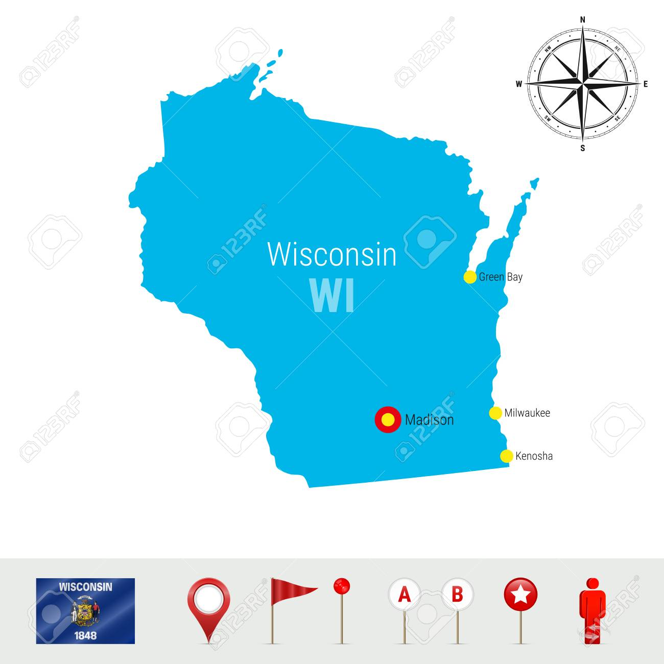 Wisconsin Vector Map Isolated on White Background. High Detailed.. on albany state map, green state map, iowa state map, oakland state map, arlington state map, corpus christi state map, oshkosh state map, galveston state map, billings state map, rochester state map, scranton state map, harvard state map, dayton state map, montgomery state map, lake county state map, tulsa state map, peoria state map, spokane state map, aurora state map, allentown state map,