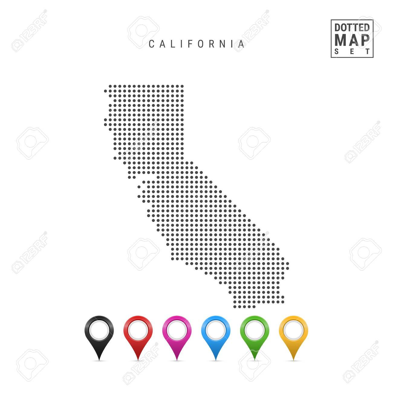 Dots Pattern Vector Map Of California Stylized Simple Silhouette