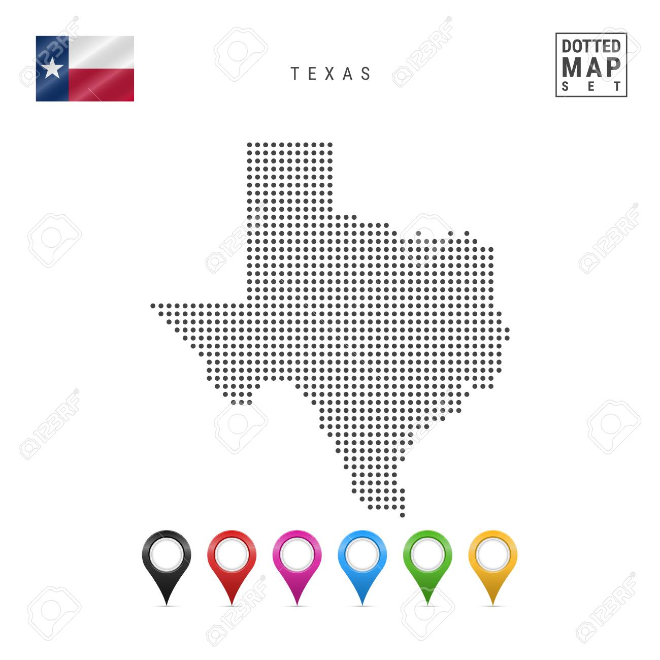 Dots Pattern Vector Map Of Texas Stylized Simple Silhouette