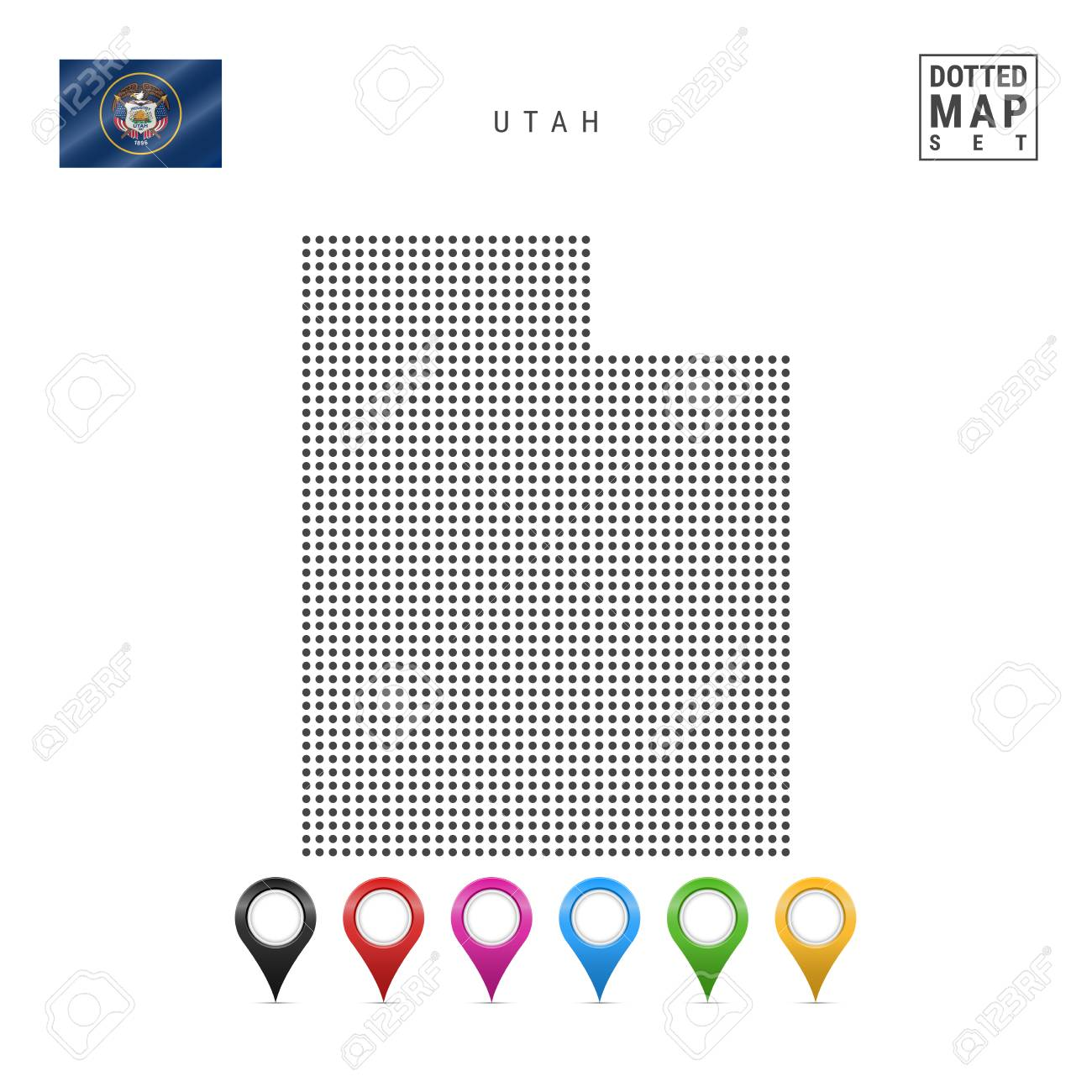 Dots Pattern Vector Map of Utah. Stylized Simple Silhouette of Utah. The Flag of the State of Utah. Set of Multicolored Map Markers. Illustration Isolated on White Background. - 110348400
