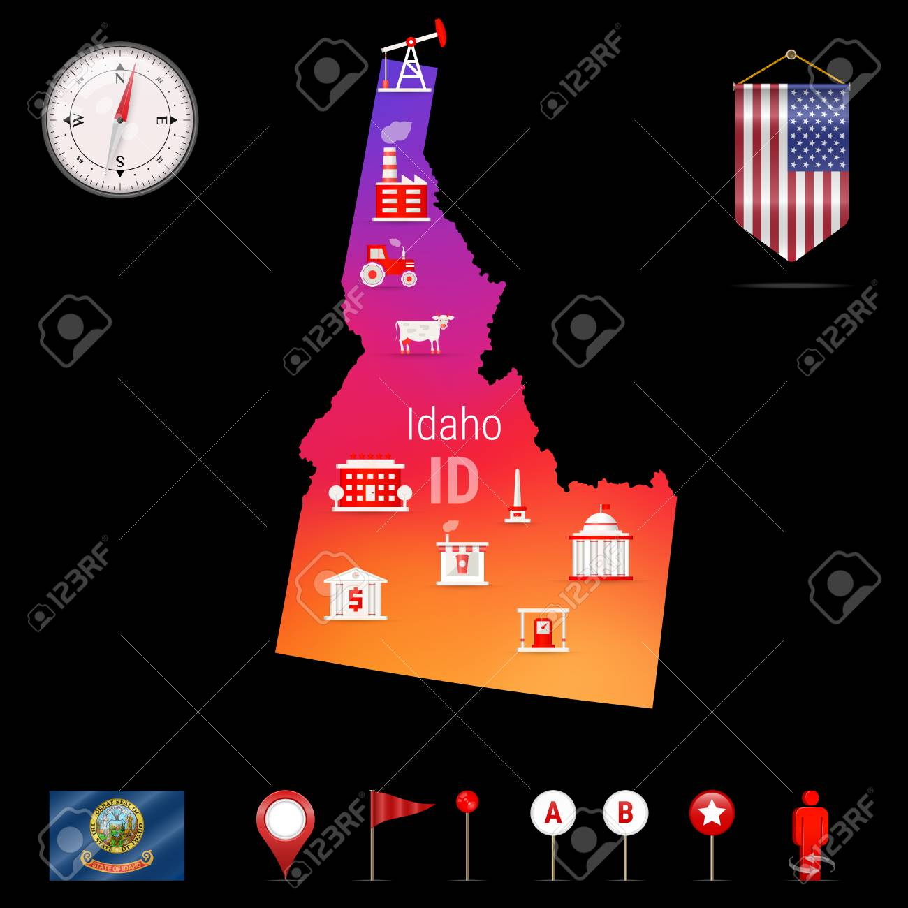 Idaho Vector Map Night View Compass Icon Map Navigation Elements - Us-map-night