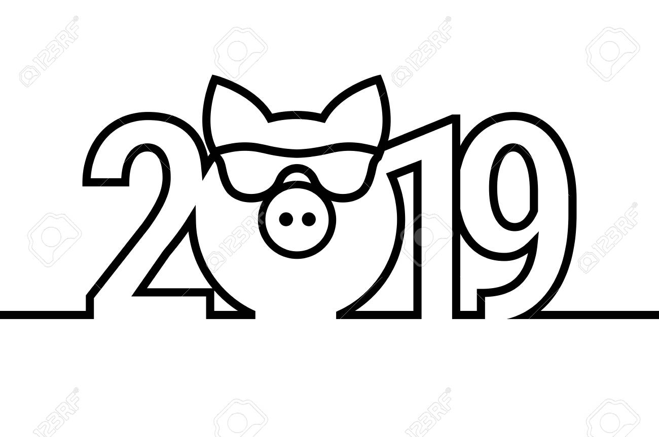 Merry Christmas Images Black And White.Pig Year 2019 Black And White Emblem Vector Symbol Merry Christmas