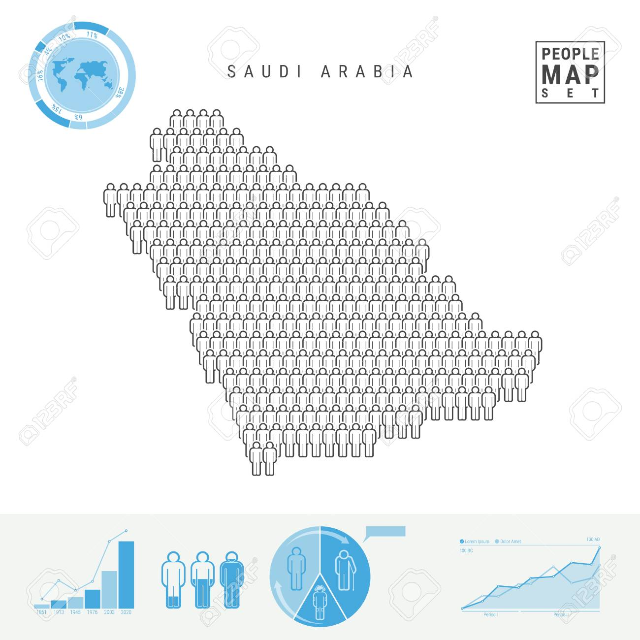 Saudi Arabia People Icon Map. People Crowd In The Shape Of A Map Of ...