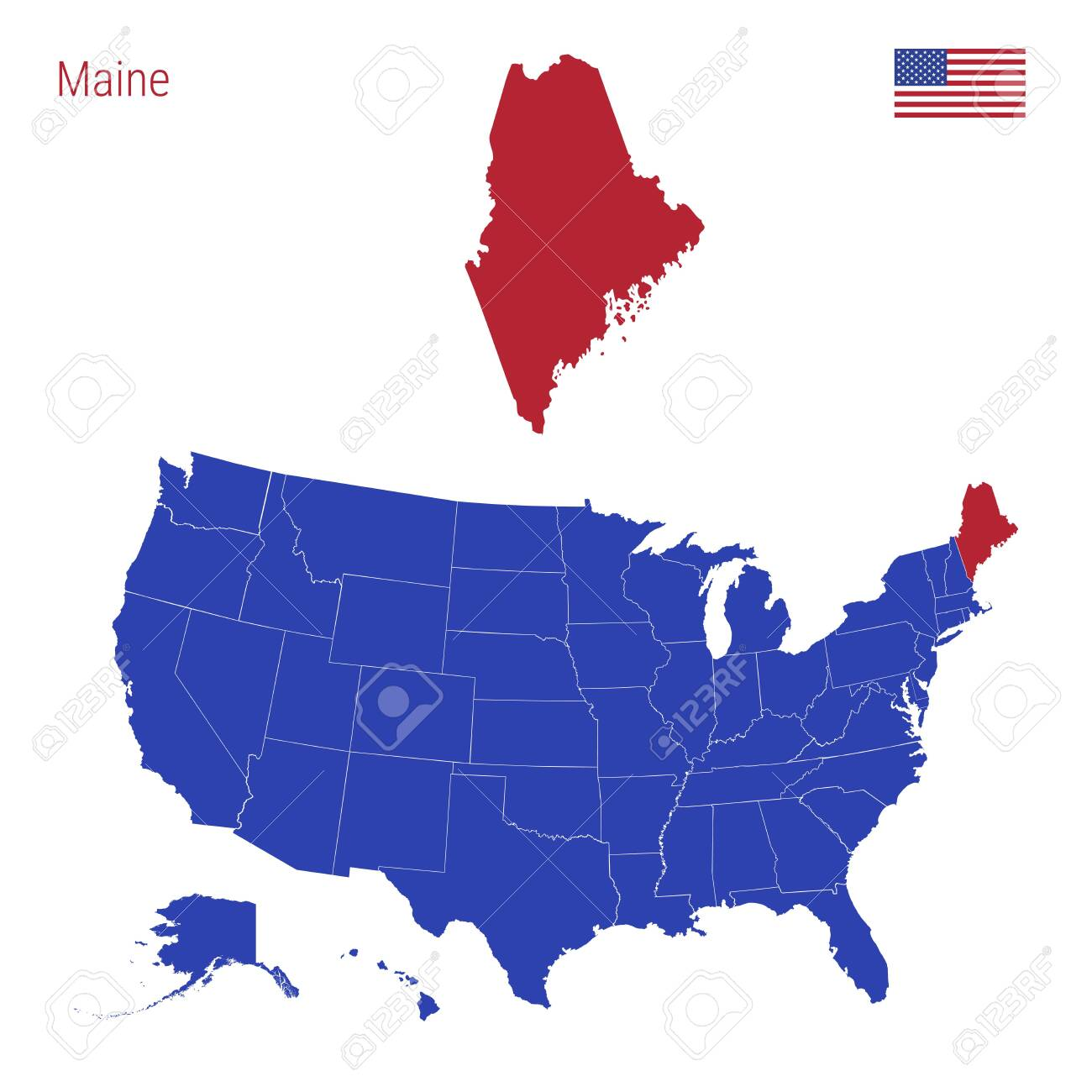 The State of Maine is Highlighted in Red. Blue Vector Map of..