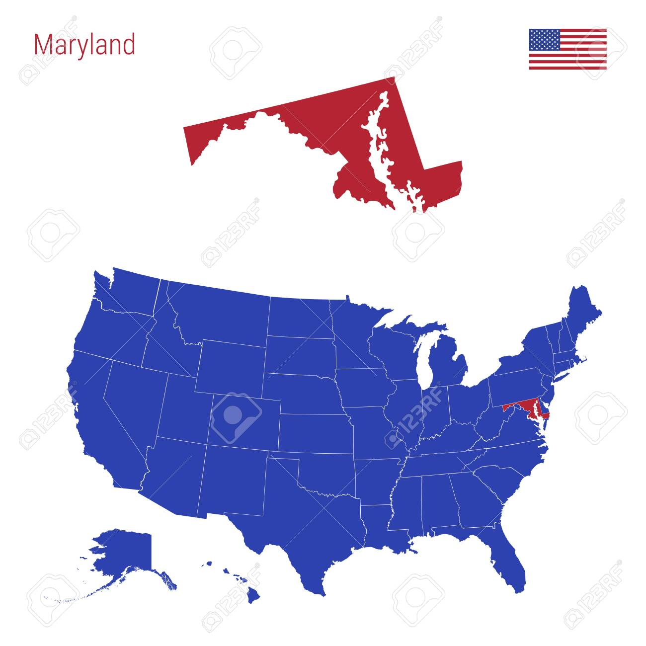 The State of Maryland is Highlighted in Red. Blue Vector Map..