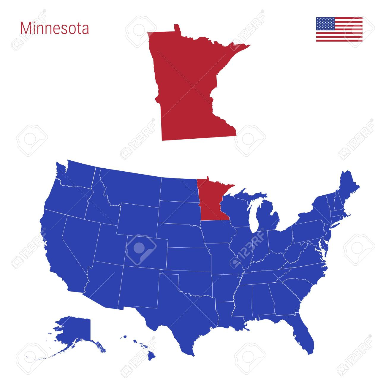 The State of Minnesota is Highlighted in Red. Blue Vector Map..