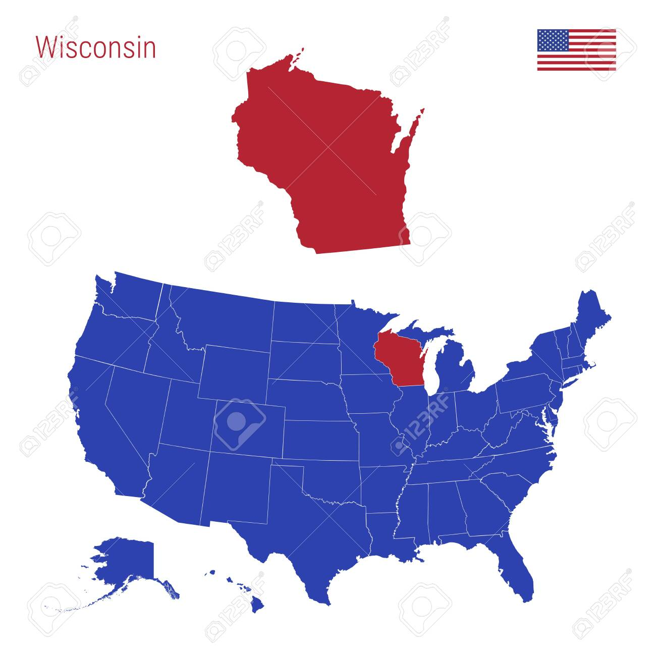 The State of Wisconsin is Highlighted in Red. Blue Vector Map..