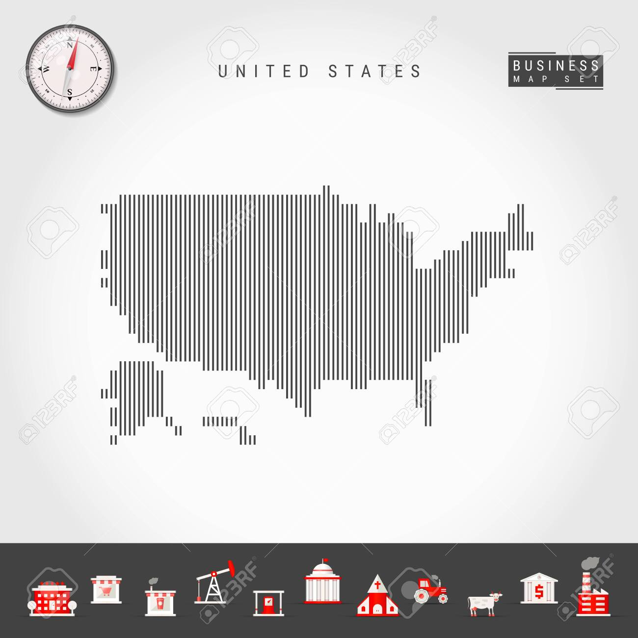 Vector Vertical Lines Pattern Map of United States. Striped Simple..