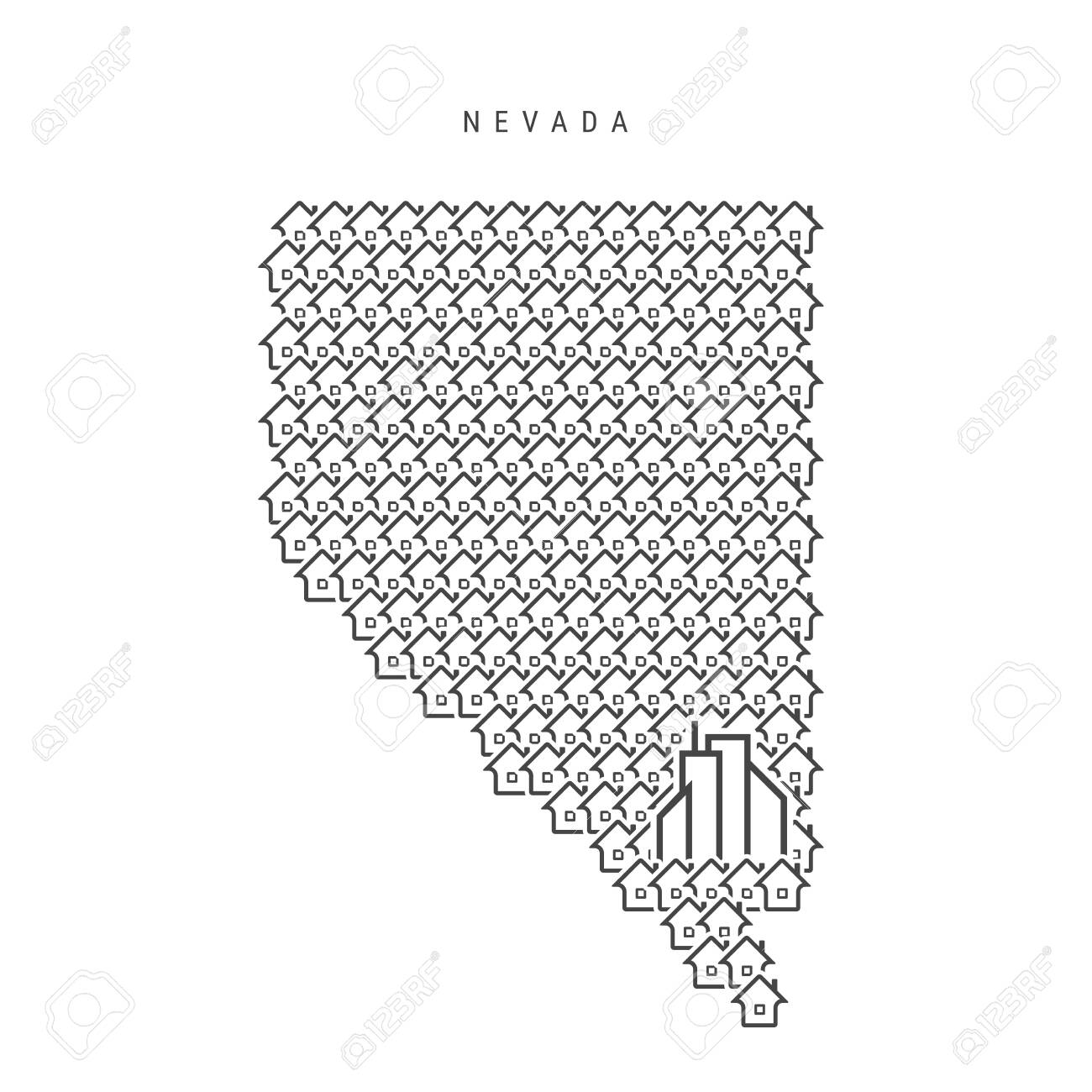 Nevada Real Estate Property Map Icons Of Houses In The Shape Royalty Free Cliparts Vectors And Stock Illustration Image 140121337