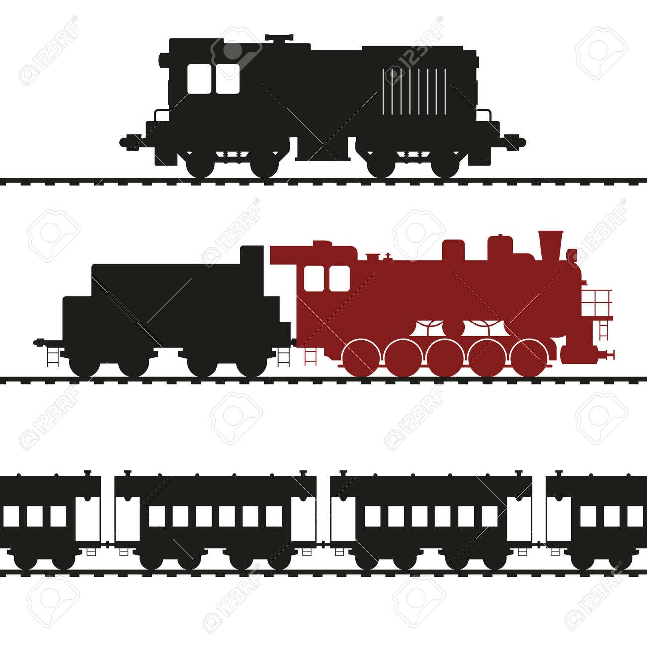 Old locomotives, shunting locomotive and steam locomotive with tender. Vintage wagons. Vector illustration. - 158111467