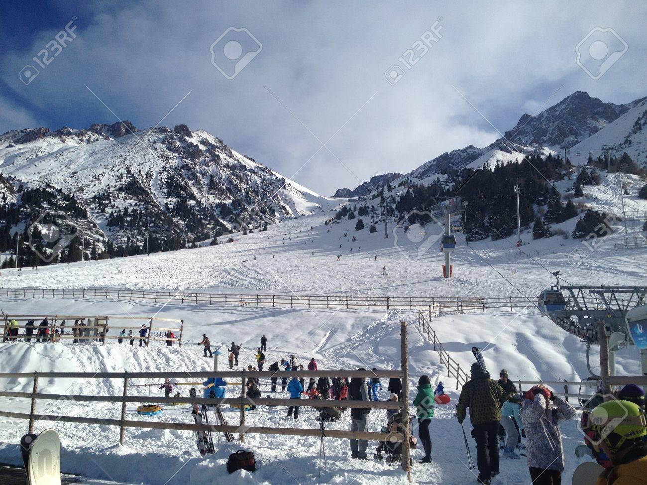 shymbulak ski resort in the almaty, kazakhstan stock photo, picture