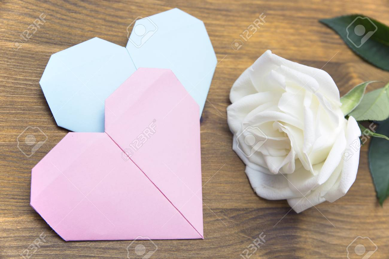 Two Hearts Made Of Paper And Rose Stock Photo, Picture And Royalty ...