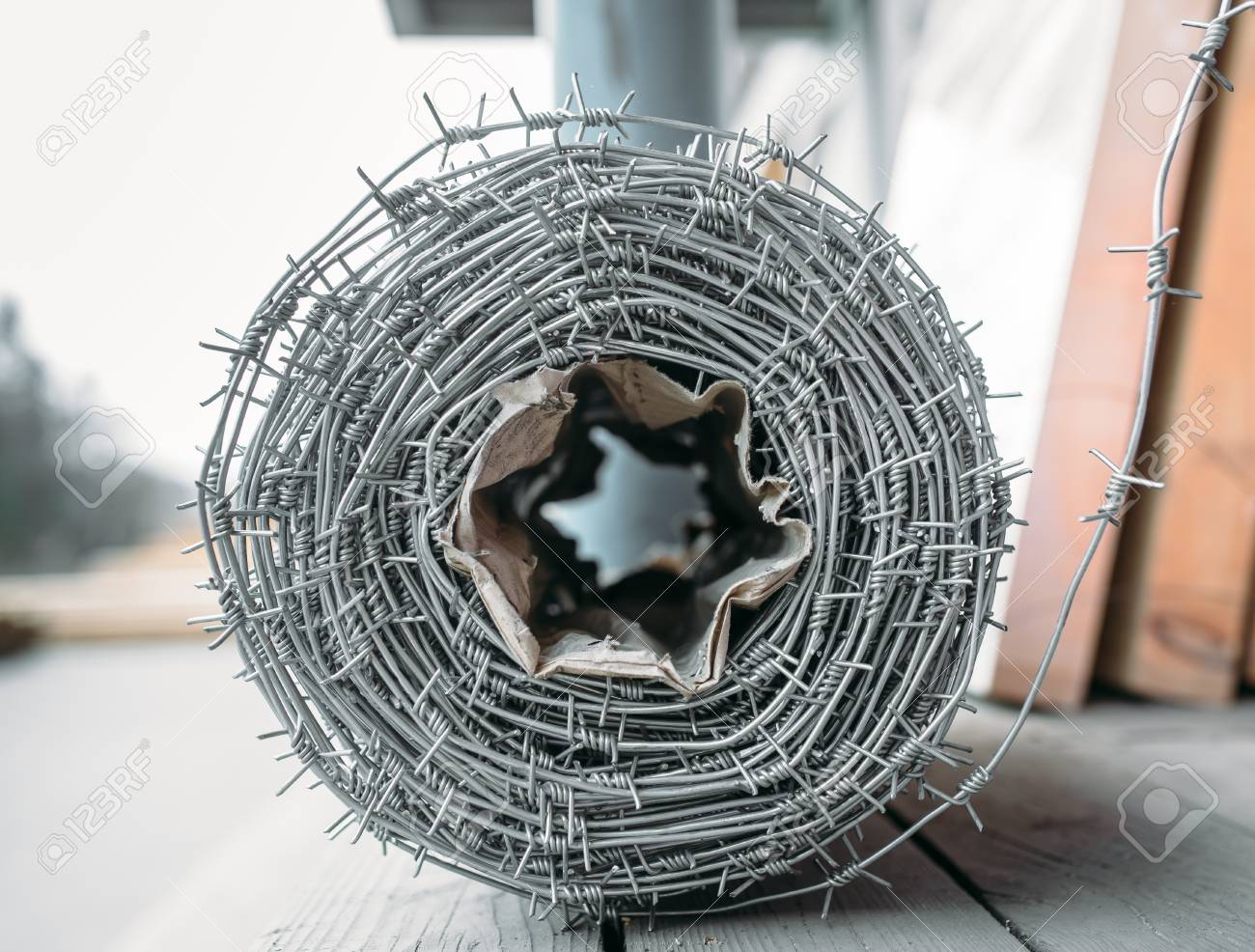 Coil Of Barbed Wire On The Counter In The Store . Building Materials ...