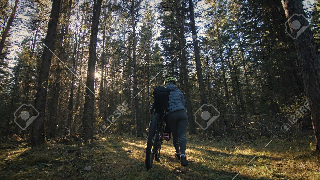 The woman travel on mixed terrain cycle touring with bike bikepacking. The traveler journey with bicycle bags. Magic forest park. - 170519257