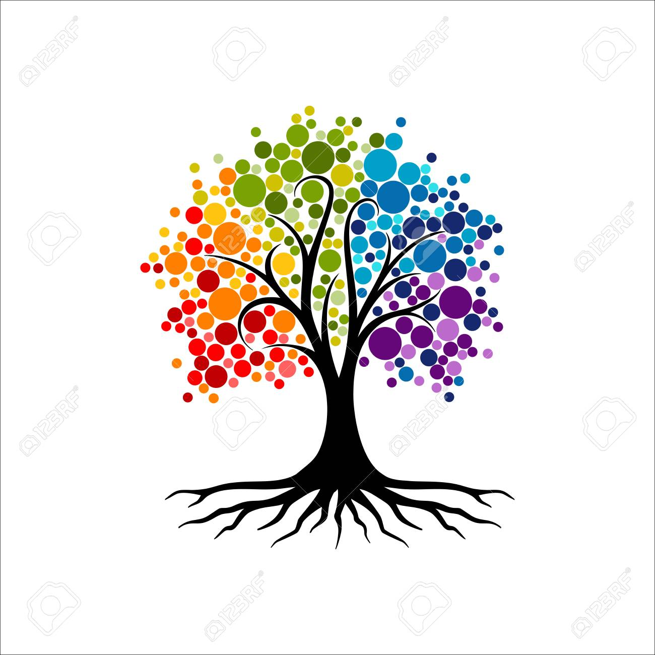 Abstract vibrant tree logo design, root vector - Tree of life logo design inspiration isolated on white background - 118116625