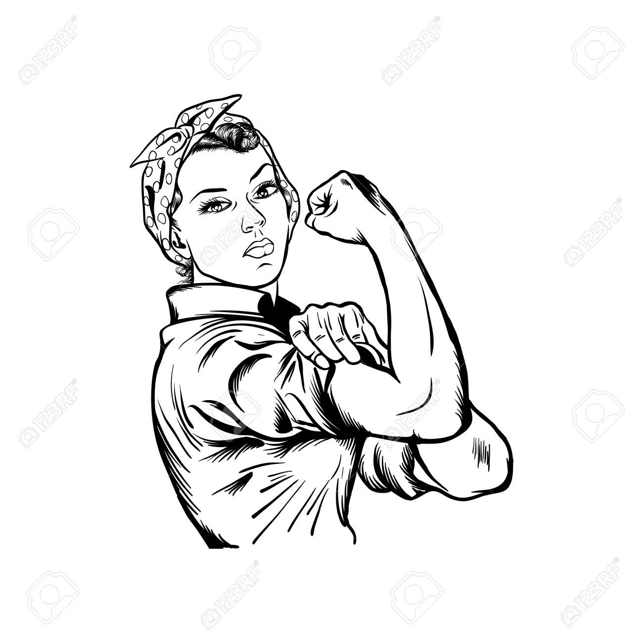 Rosie the riveter vector illustration - international women's day vector, yes we can vector isolated on white background - 118116657