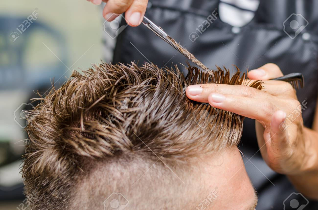 Fantastic Mens Hair Cutting Scissors In A Beauty Salon Stock Photo Picture Natural Hairstyles Runnerswayorg