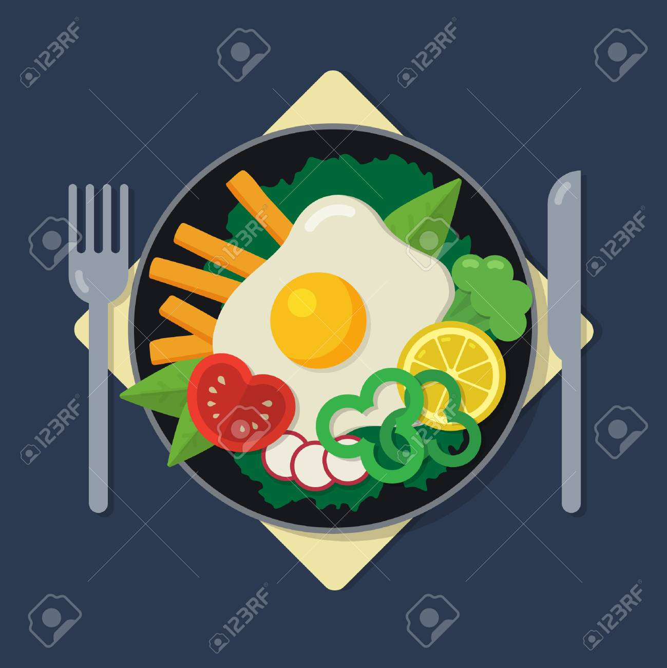 Healthy Breakfast Flat Illustration A Plate With Omelette Salad Royalty Free Cliparts Vectors And Stock Illustration Image 85329298