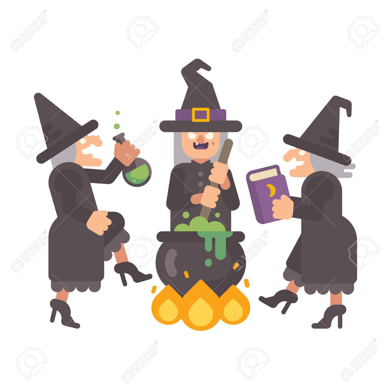 Drei Böse Alte Hexen, Die Einen Trank Brauen. Drei Böse Schwestern ...