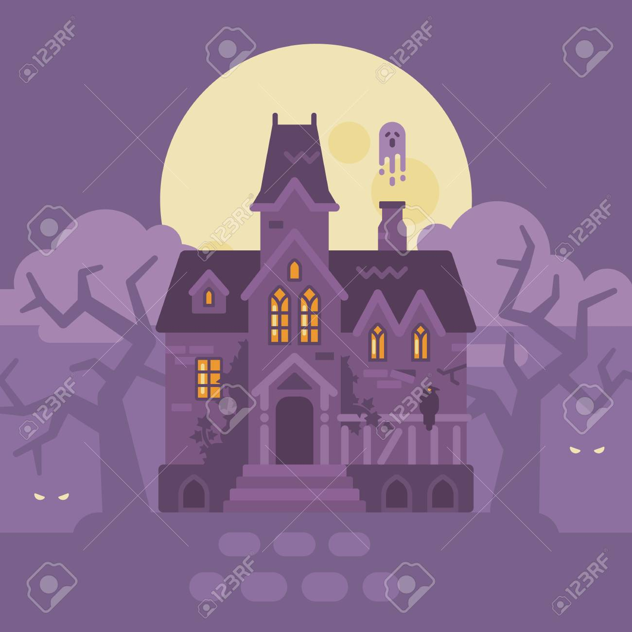 Abandoned Gothic Mansion With Ghosts Halloween Haunted House Flat Illustration Trick Or Treat