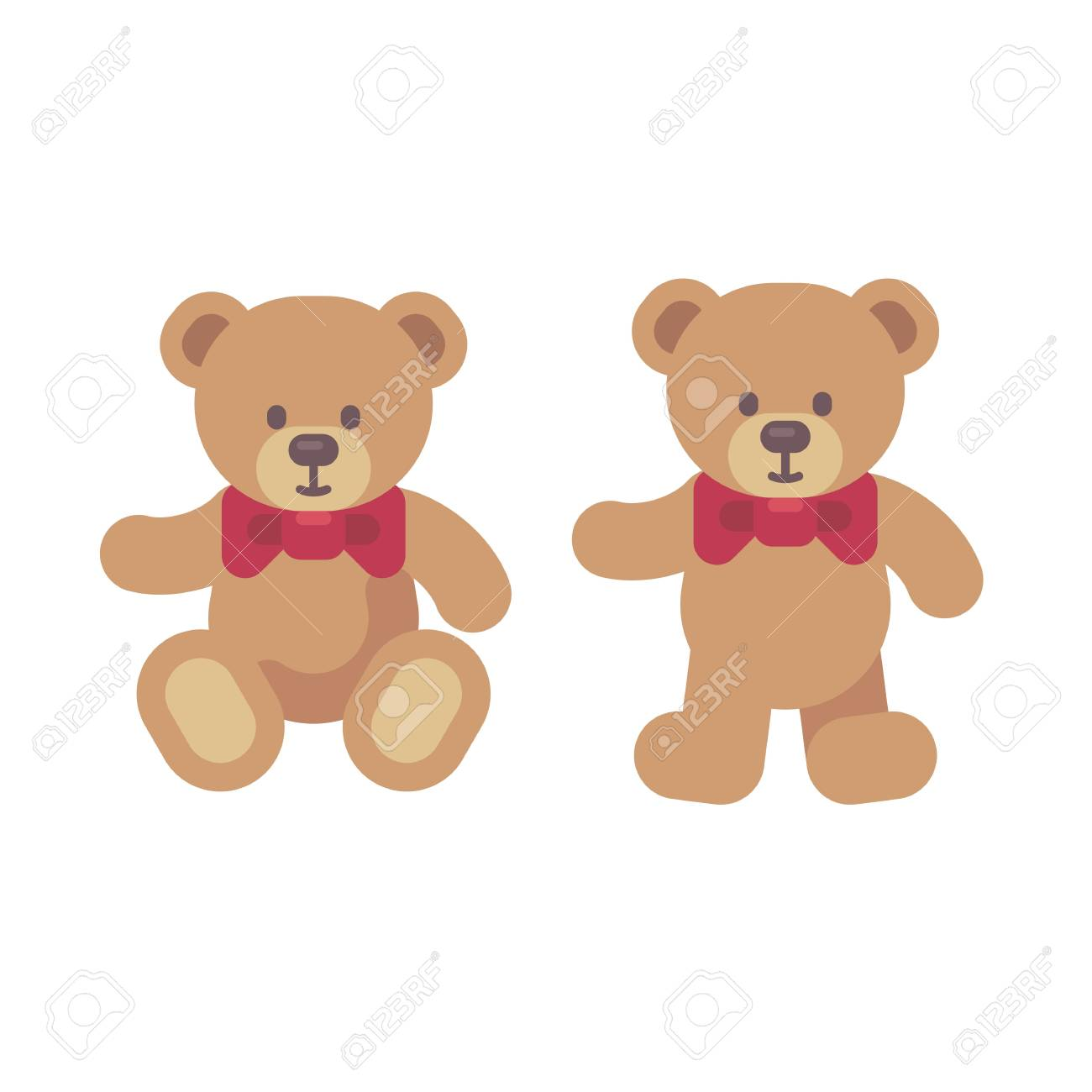 teddy bear toys sitting and standing flat illustration christmas