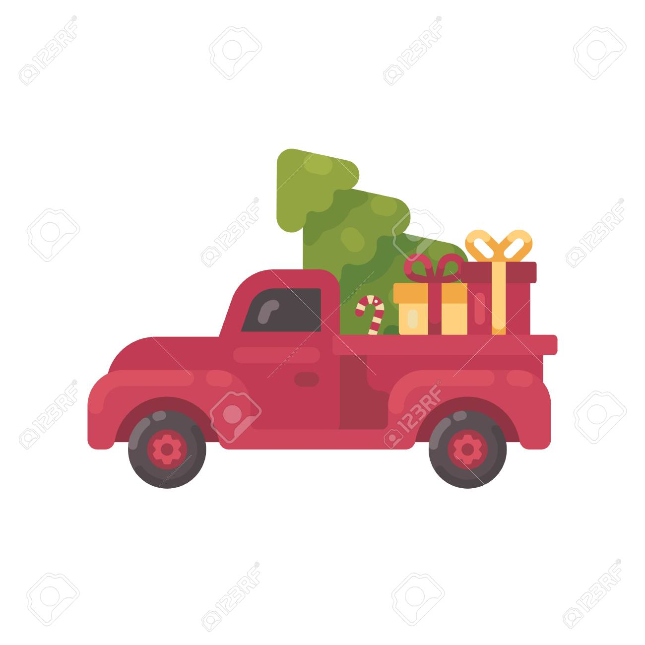 Old Red Truck With Christmas Tree And Presents Royalty Free Cliparts Vectors And Stock Illustration Image 90337979