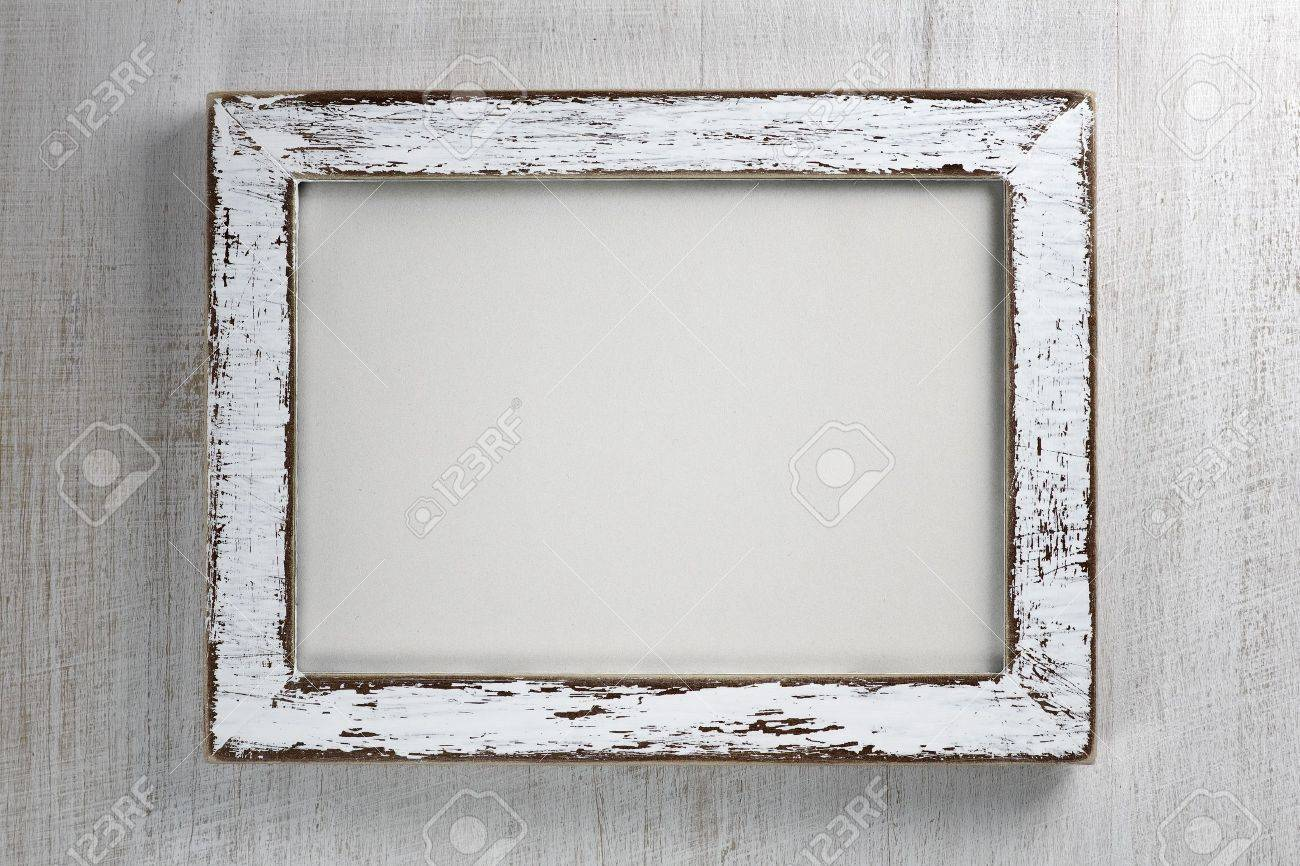 Vintage Wooden Frame On Wall Background Stock Photo, Picture And ...