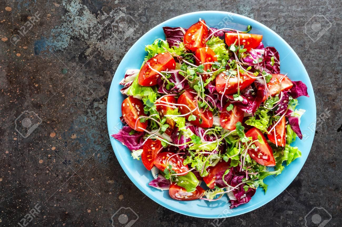 salad bowl, mixed fresh vegetables, healthy clean food, diet eating - 120981053