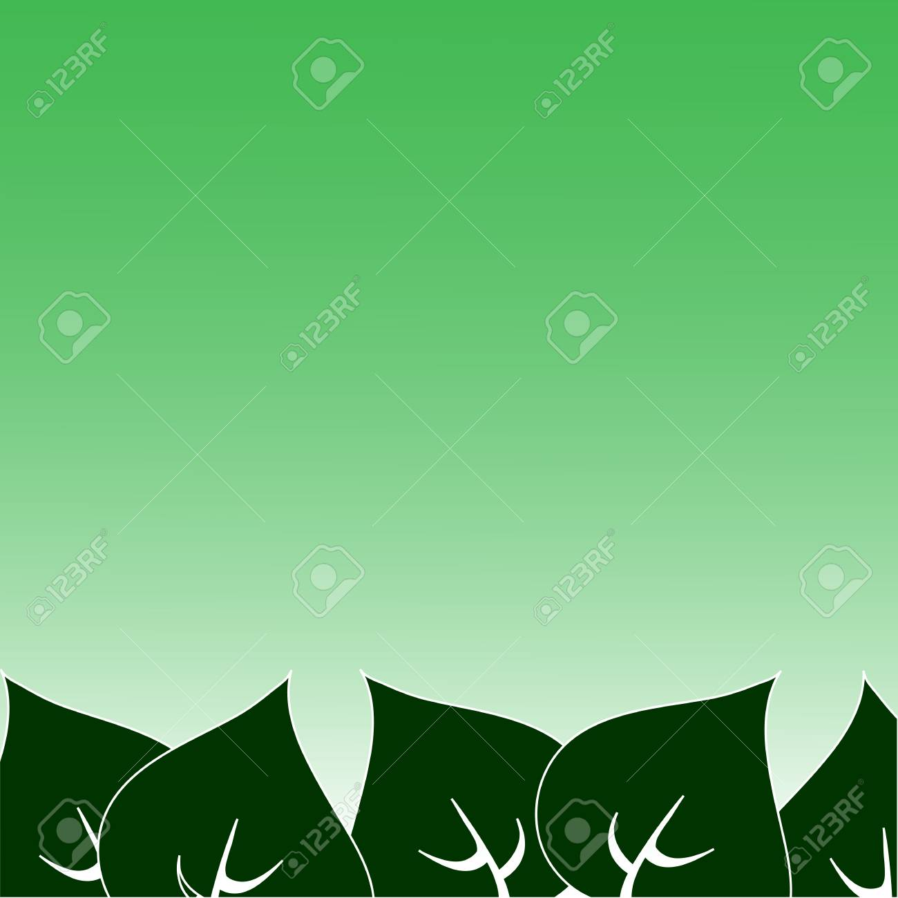 Frame Of Green Leaves Painted In Different Directions Royalty Free on